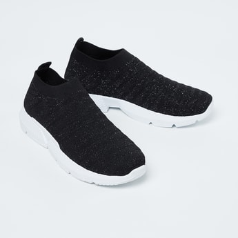 GINGER Textured Sock-Knit Slip-On Shoes