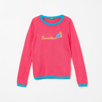 UNITED COLORS OF BENETTON Embroidered Full Sleeves Sweater