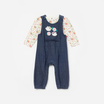 FS MINI KLUB Printed Dungaree with Full Sleeves Top