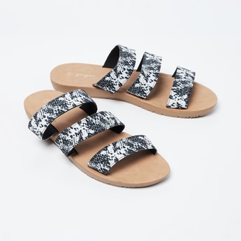 GINGER Snakeskin Texture Strappy Flats