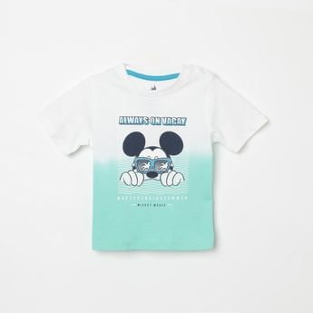 JUNIORS Mickey Print Crew Neck T-shirt