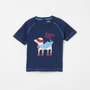 JUNIORS Printed Raglan Sleeves Crew Neck T-shirt