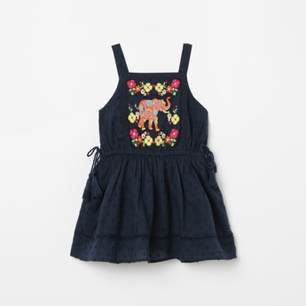 JUNIORS Embroidered Sleeveless Fit & Flare Dress