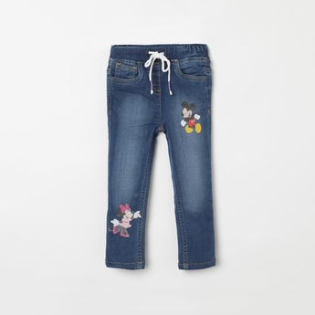 JUNIORS Mickey Mouse Print Slim Fit Jeans