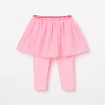 JUNIORS Tulle Layered Circular Skirt with Attached Leggings