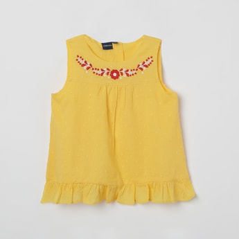 JUNIORS Floral Embroidery Sleeveless A-line Top