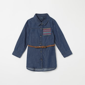 JUNIORS Denim Shirt with Embroidered Patch Pocket