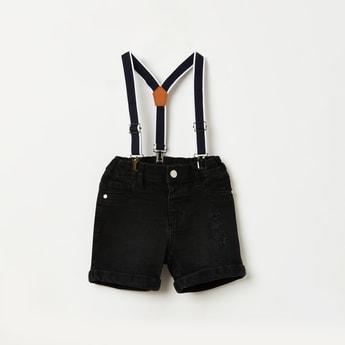 JUNIORS Distresed Denim Shorts with Suspenders