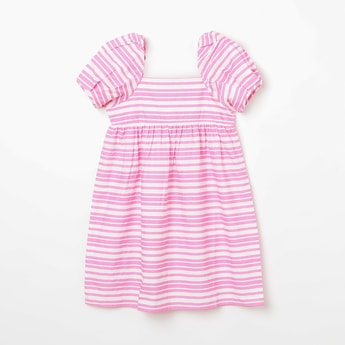 FAME FOREVER KIDS Square Neck Striped A-line Dress
