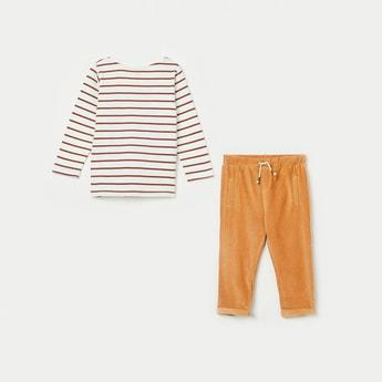 FS MINI KLUB Striped Full Sleeves T-shirt with Pyjamas