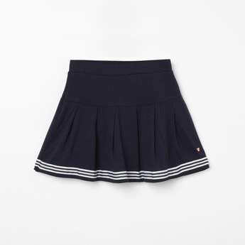 BOSSINI Solid A-line Skirt with Striped Detailing