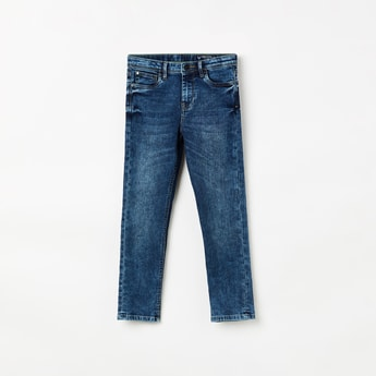 ALLEN SOLLY Girls Dark Washed Jeans with Tonal Whiskers