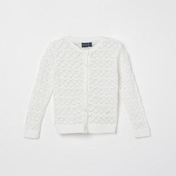 JUNIORS Textured Full Sleeves Cardigan