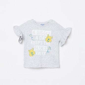 JUNIORS Printed Ruffled Cap Sleeves T-shirt