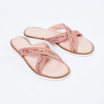 MONROW Embroidered Criss-Cross Strap Flat Sandals