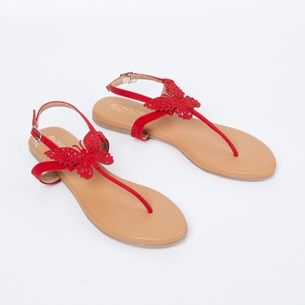 MONROW T-strap Sandals with Laser Cut Butterfly Applique