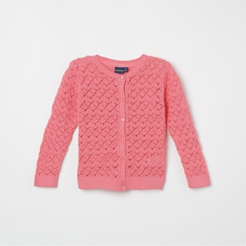 FAME FOREVER KIDS Lace Detail Full Sleeves Cardigan
