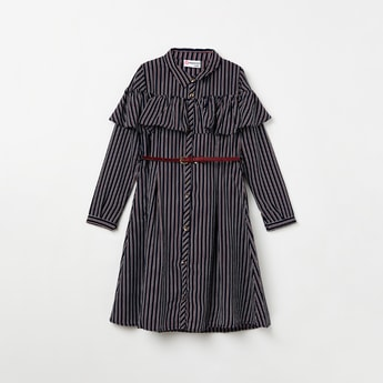 PEPPERMINT Striped Ruffle Detailed Button-Down Dress with Belt