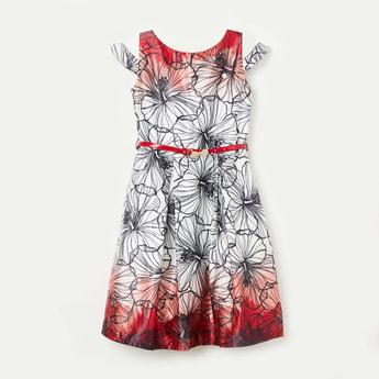 PEPPERMINT Cutaway Sleeves Floral Print A-line Dress