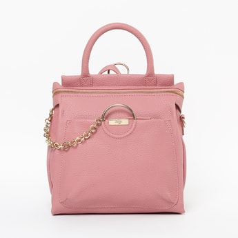 BAGGIT Textured Backpack with Chain Accent