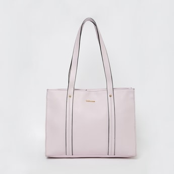 DAVID JONES Solid Handbag with Flat Handles
