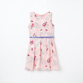 U.S. POLO ASSN. KIDS Printed Pleated A-line Dress