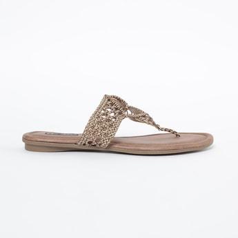 RAW HIDE T-strap Flat Sandals