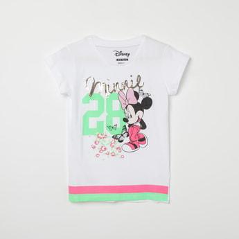 KIDSVILLE Minnie Mouse Print Round-Neck T-shirt