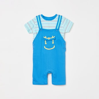 MINI KLUB Boys Textured Dungarees with Striped T-shirt