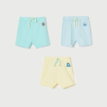 FS MINI KLUB Boys Solid Elasticated Shorts - Set of 3 Pcs