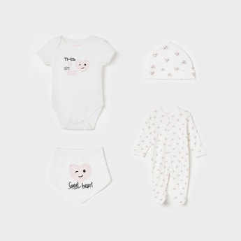 JUNIORS Printed Rompers with Sleepsuit, Beanie and Bib