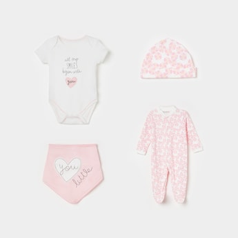 JUNIORS Floral Print Sleepsuit with Beanie with Shorts