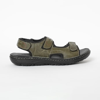 LEE COOPER Genuine Leather Textured Floaters with Velcro
