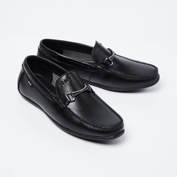 LEE COOPER Genuine Leather Textured Bit Loafers