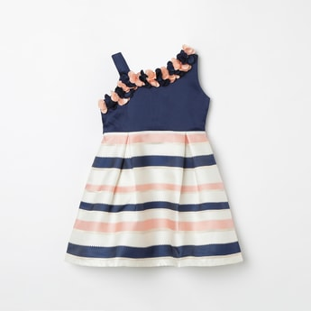 PEPPERMINT Striped Fit & Flare Dress with Rosettes