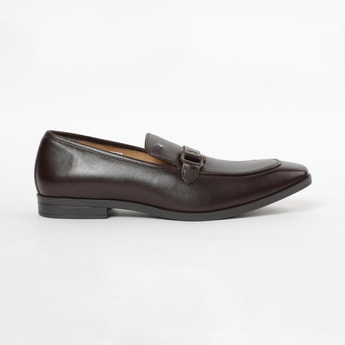 LOUIS PHILIPPE Genuine Leather Pointed-Toe Loafers