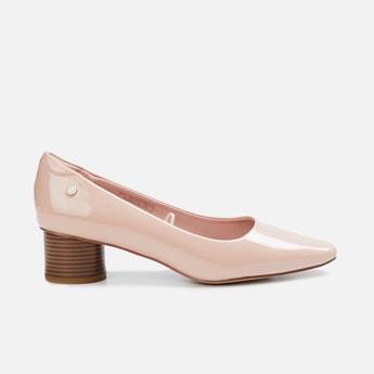 ALLEN SOLLY Women Almond-Toe Pumps with Block Heels