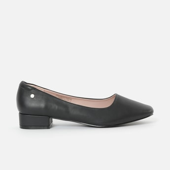 ALLEN SOLLY Almond-Toe Pumps with Block Heels