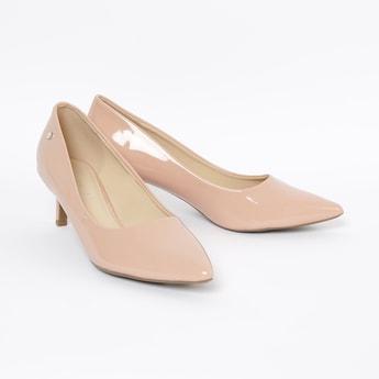 ALLEN SOLLY Pointed-Toe Pumps with Kitten Heels