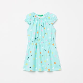 UNITED COLORS OF BENETTON Girls Printed Cap Sleeves Dress