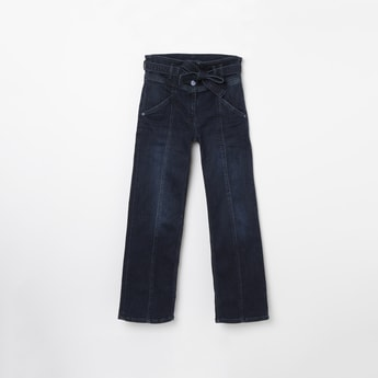 ALLEN SOLLY Dark Washed Jeans with Sash Tie-Up