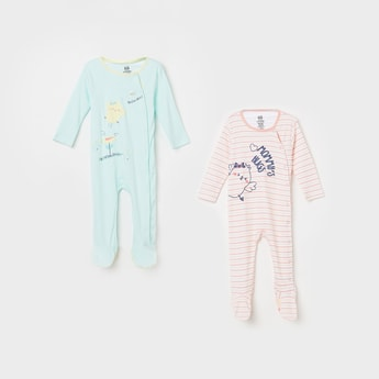 FS MINI KLUB GirlsTypographic Print Striped Sleepsuits - Pack of 2 Pcs.