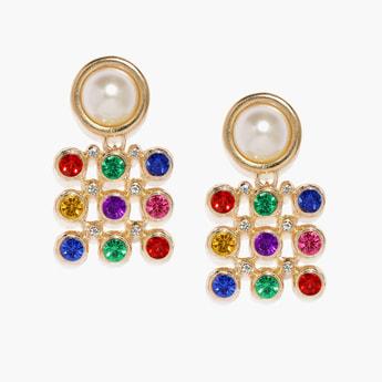 TONIQ Beaded Drop-Earrings with Stone Embellishments