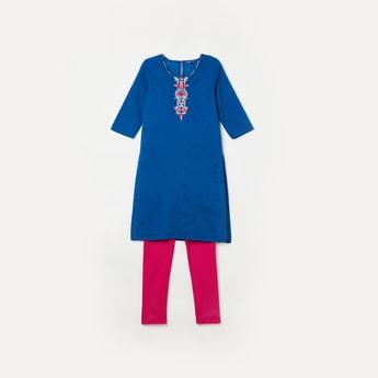 BIBA Embroidered Kurta with Solid Elasticated Leggings