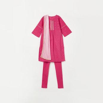 BIBA Girls Embellished Full Sleeves Kurta with Solid Churidar and Dupatta
