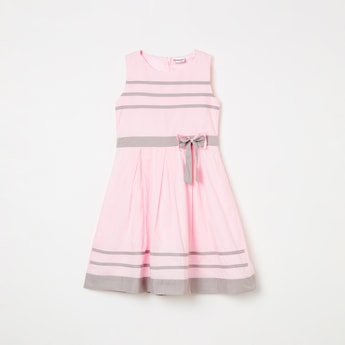 PEPPERMINT Striped Bow Detail A-line Dress
