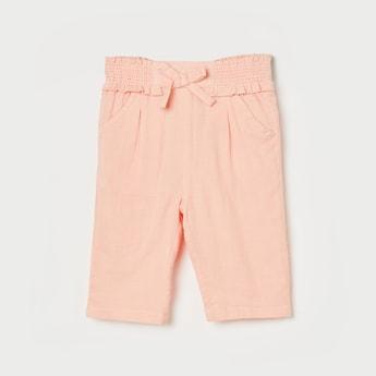FS MINI KLUB Girls Solid Pleated Capris with Scoop Pockets