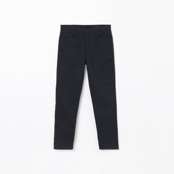 ALLEN SOLLY Textured Flat Front Trousers