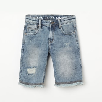 PEPE JEANS Cooper Heavy Washed Distressed Denim Shorts
