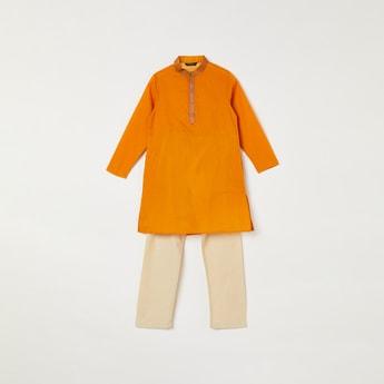 MELANGE Boys Solid Band Collar Kurta with Elasticated Waist Pyjamas